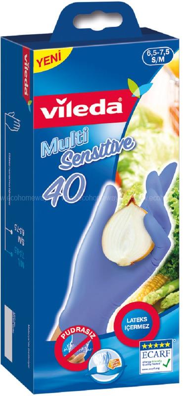 VILEDA Перчатки нитриловые одноразовые 40шт S/M по выгодной цене в Москве