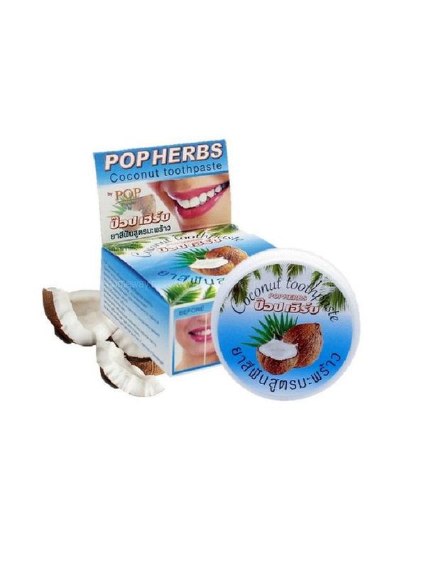 POP HERBS Растительная зубная паста с кокосом 30 гр по выгодной цене в Москве