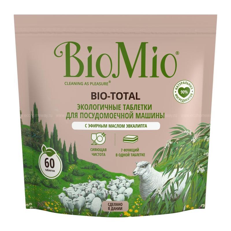 BIO MIO Таблетки для ПММ 7 в 1 с эфирным маслом эвкалипта 60шт по выгодной цене в Москве