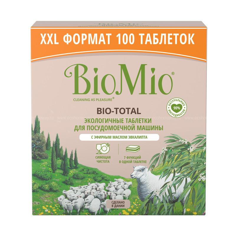 BIO MIO Таблетки для ПММ 7 в 1 с эфирным маслом эвкалипта 100шт по выгодной цене в Москве