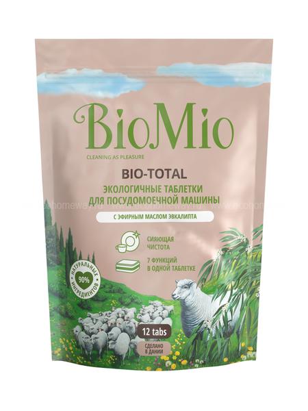 BIO MIO Таблетки для ПММ 7 в 1 с эфирным маслом эвкалипта 12 шт  по выгодной цене в Москве