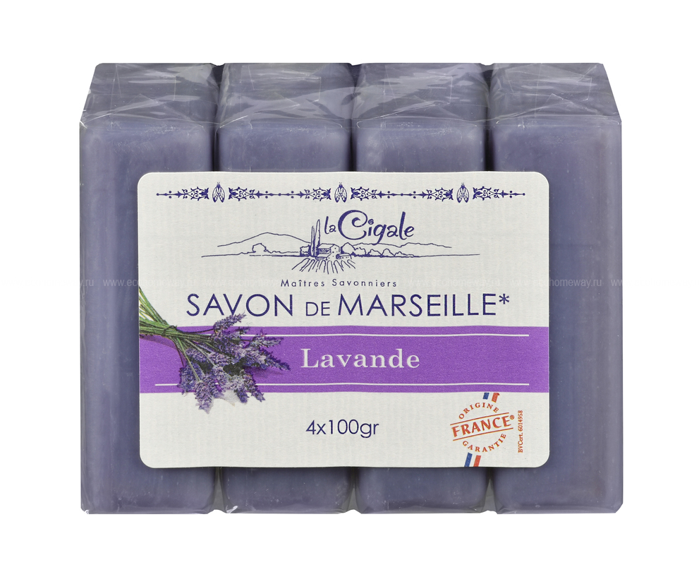 LA CIGALE Мыло марсельское с лавандой 4*100гр  по выгодной цене в Москве