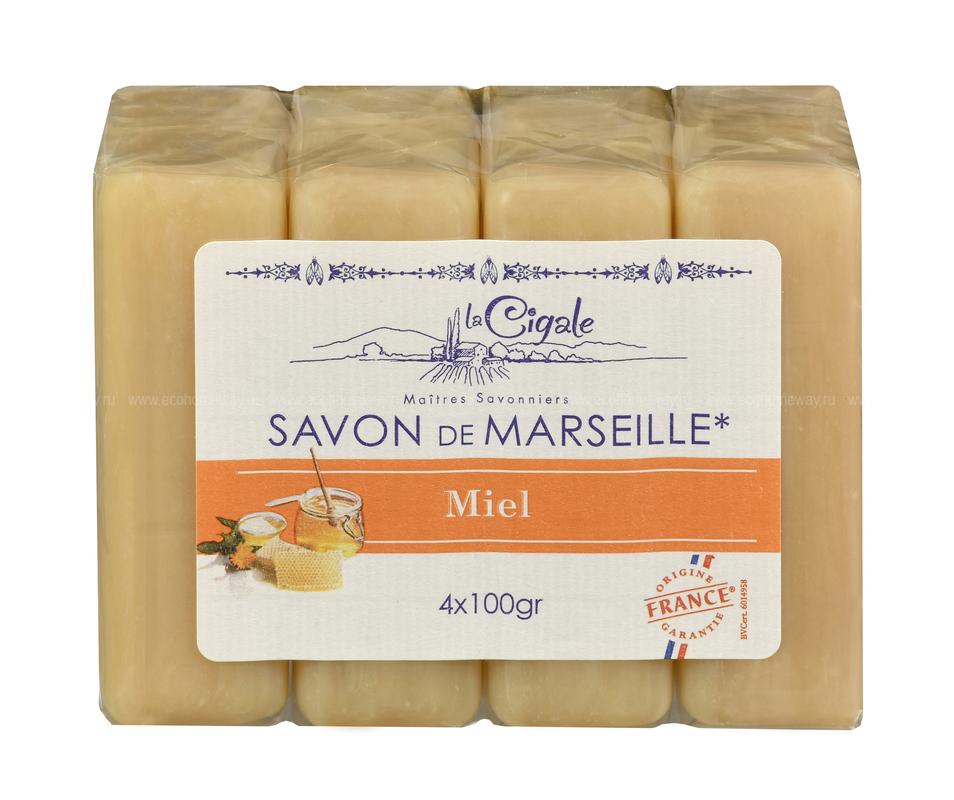 LA CIGALE Мыло марсельское с медом 4*100гр  по выгодной цене в Москве