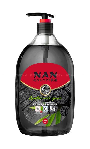 NAN средство для мытья посуды и детских принадлеж.  древесный уголь, флакон с доз. 900мл  по выгодной цене в Москве