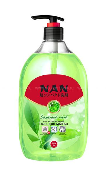 NAN средство для мытья посуды и детских принадлежностей зеленый чай, флакон с доз. 900мл  по выгодной цене в Москве