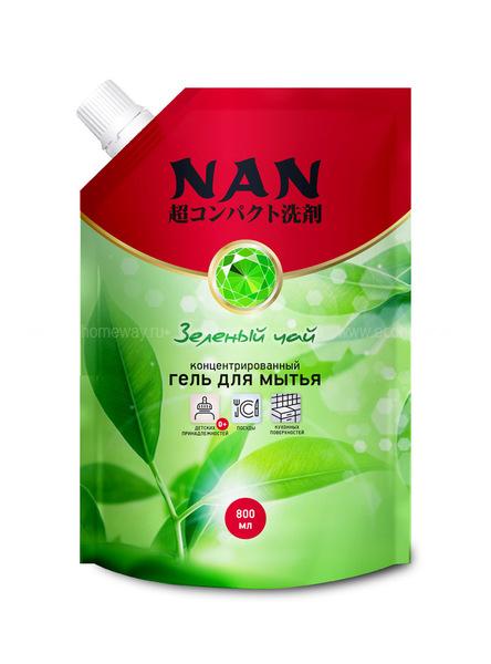NAN средство для мытья посуды и детских принадлежностей зеленый чай, сменный блок 800 мл  по выгодной цене в Москве