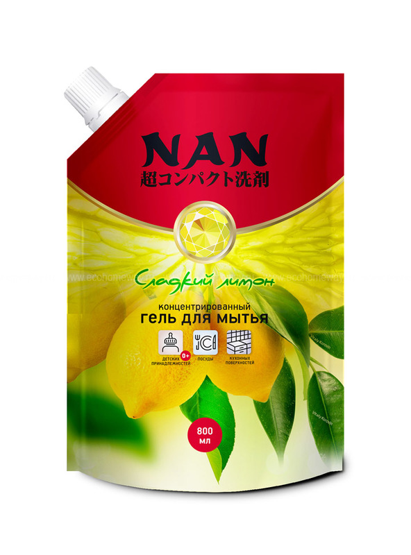 NAN средство для мытья посуды и детских принадлежностей сладкий лимон, сменный блок 800 мл  по выгодной цене в Москве