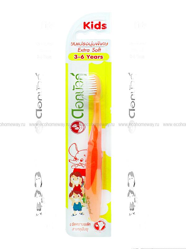 TWIN LOTUS Зубная щетка детская экстра мягкая (оранжевая) 3-6 лет по выгодной цене в Москве